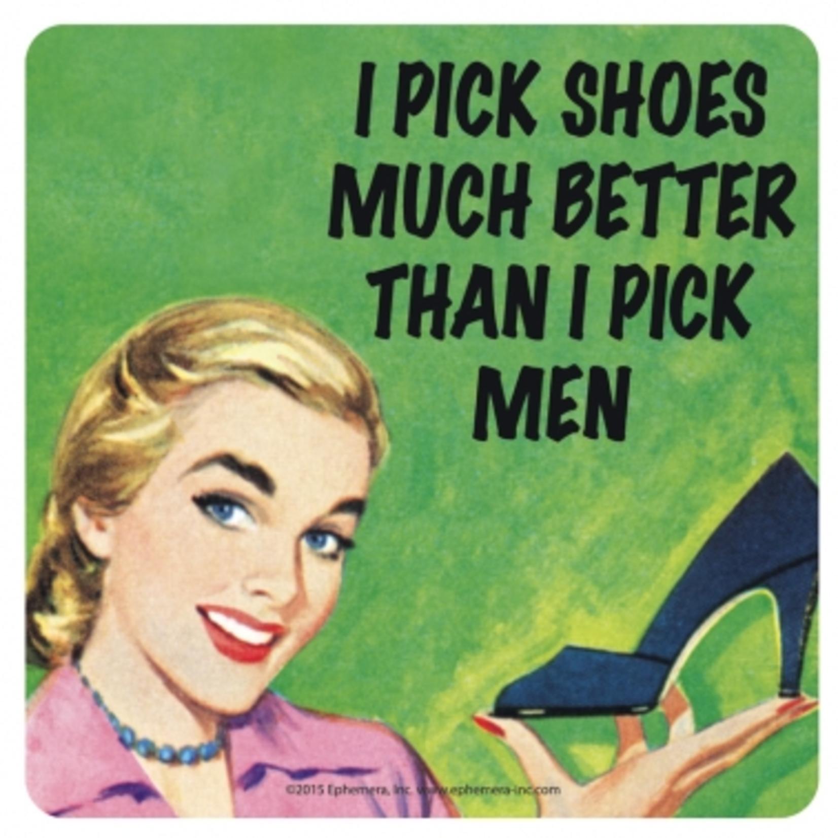 Retro Humour Coaster Single - I Pick Shoes