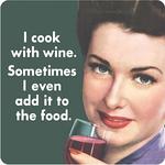 Retro Humour Coaster Single - I Cook With Wine