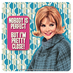 Retro Humour Coaster Single - Nobody Is Perfect