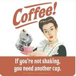 Retro Humour Coaster Single - Coffee!