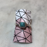 Silvex Images Siilvex Ring Extra Small Square Turquoise Stone, Sterling Silver