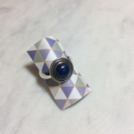 Silvex Images Small Lapis Round Ring with Circle Detailing
