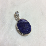 Silvex Images Small Blue Stone Oval Pendant - A