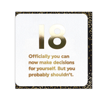 Brainbox Candy Descisions 18th Birthday Card