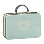Maileg Maileg Metal Suitcase, Mint with cream dots