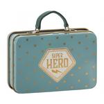 Maileg Maileg Metal Suitcase, Blue, Gold stars, SUPERHERO