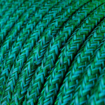 CCIT Per Metre - Round Electric Cable Flex covered in Rayon solid color fabric - Emerald