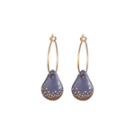One & Eight Porcelain Blue and Gold Raindrop Hoop Earrings