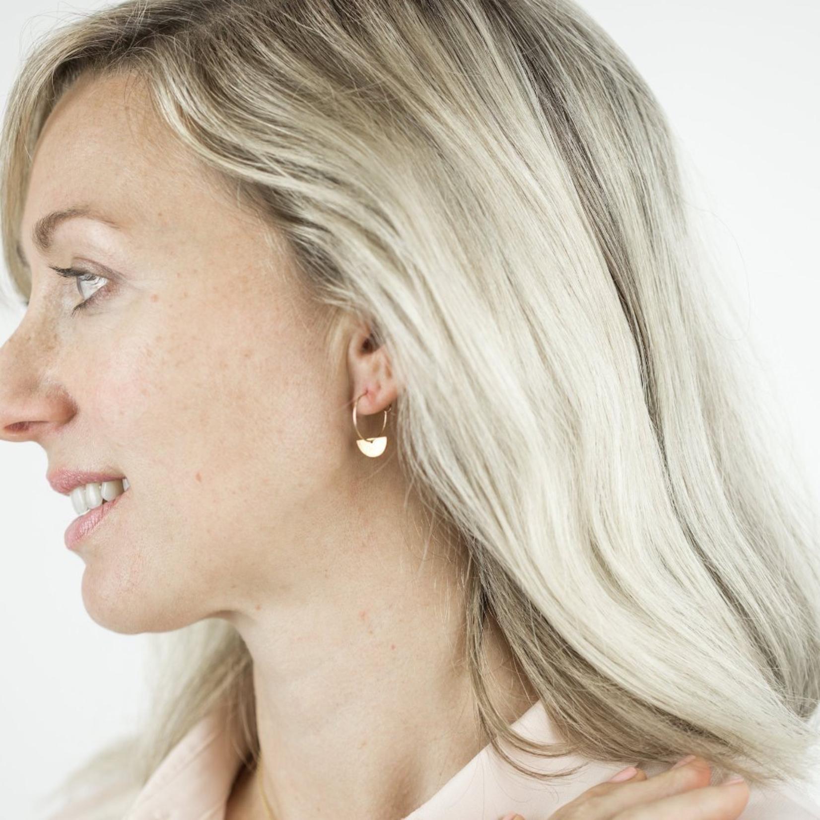 One & Eight Gold Semi Circle Hoop Earrings