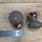 Pushka 55mm Dark Grey Ceramic Mortice Door Knobs Small - Both sides slightly different colours