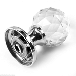 PKA Chrome Faceted Crystal (Pair) Mortice Door Knobs