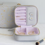 Lisa Angel Grey with Gold Stars & Lilac Small Square Travel Jewellery Case Box