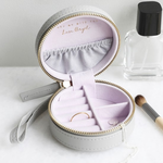 Lisa Angel Grey & Lavender Mini Round Travel Jewellery Case / Box
