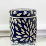 Grand Interiors Petit Indigo Blue Decorative Pot with plain ciramic Petals Pattern