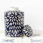 Grand Interiors Ginger Jar Indigo Blue with plain ciramic Petals Pattern Decorative Pot