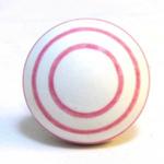 Pushka White Knob & Pink Stripe Ceramic Cupboard Knob