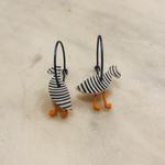 Lene Lundberg White Puffin with black stripes Earrings