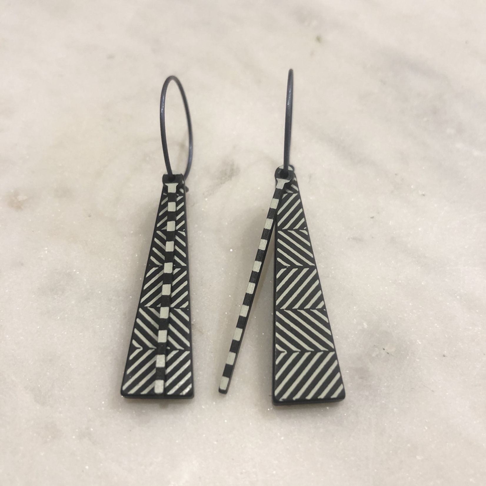 Lene Lundberg Black Triangle with White Diagonal Stripes Abstract Earrings