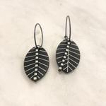 Lene Lundberg Black Leaf with White Stripes Abstract Earrings