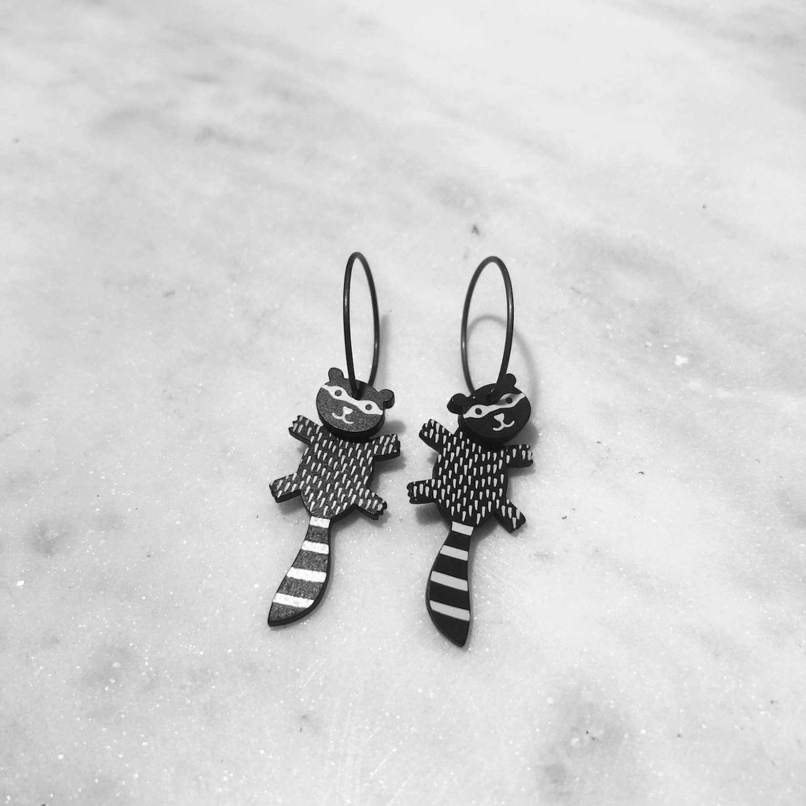 Lene Lundberg Black Racoon with White Spots and stripes Earrings
