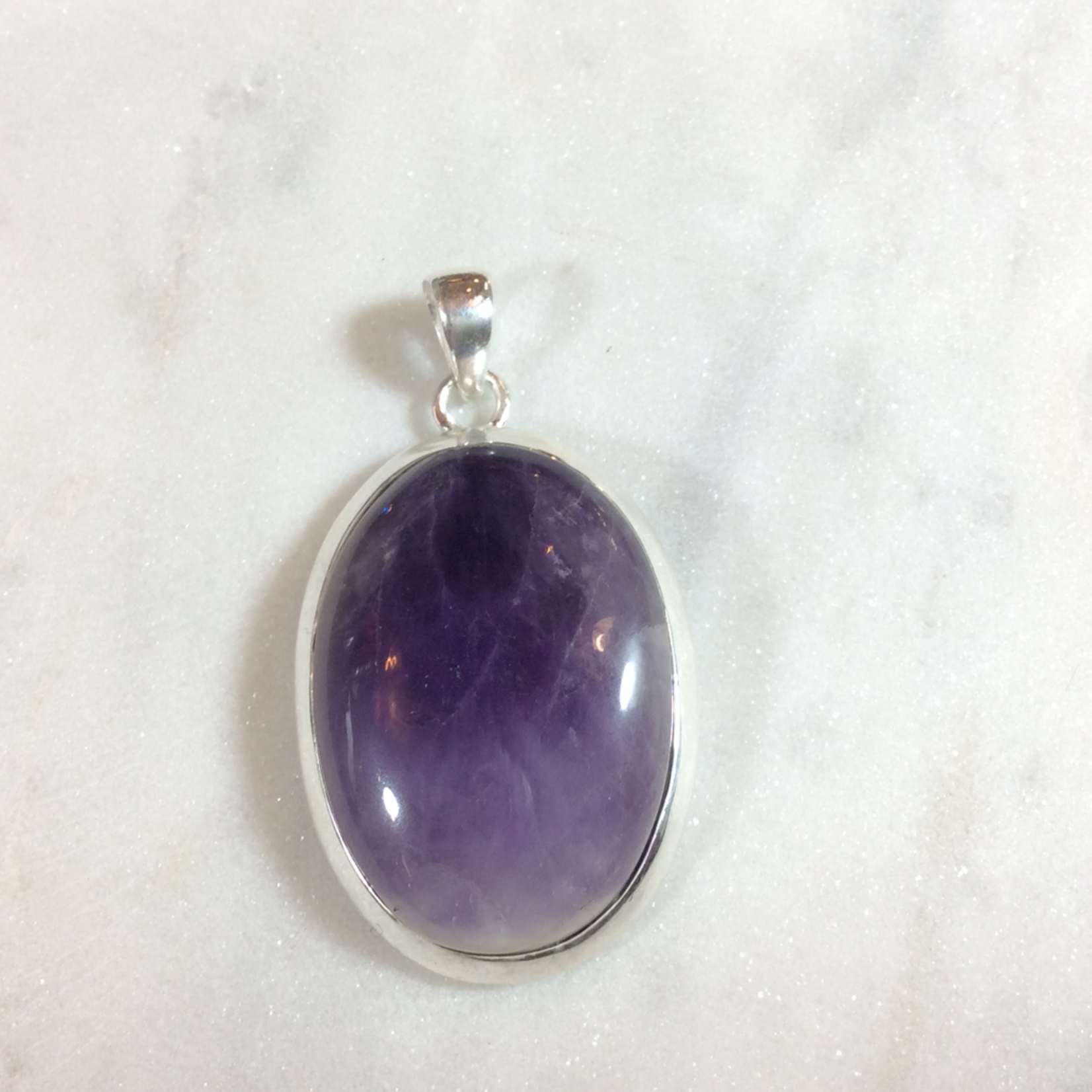 Silvex Images Extra Large Amethyst Sterling Silver Pendant