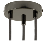 CCIT Black pearl 120 mm 3 hole ceiling rose kit with cylindrical black pearl cable retainer.