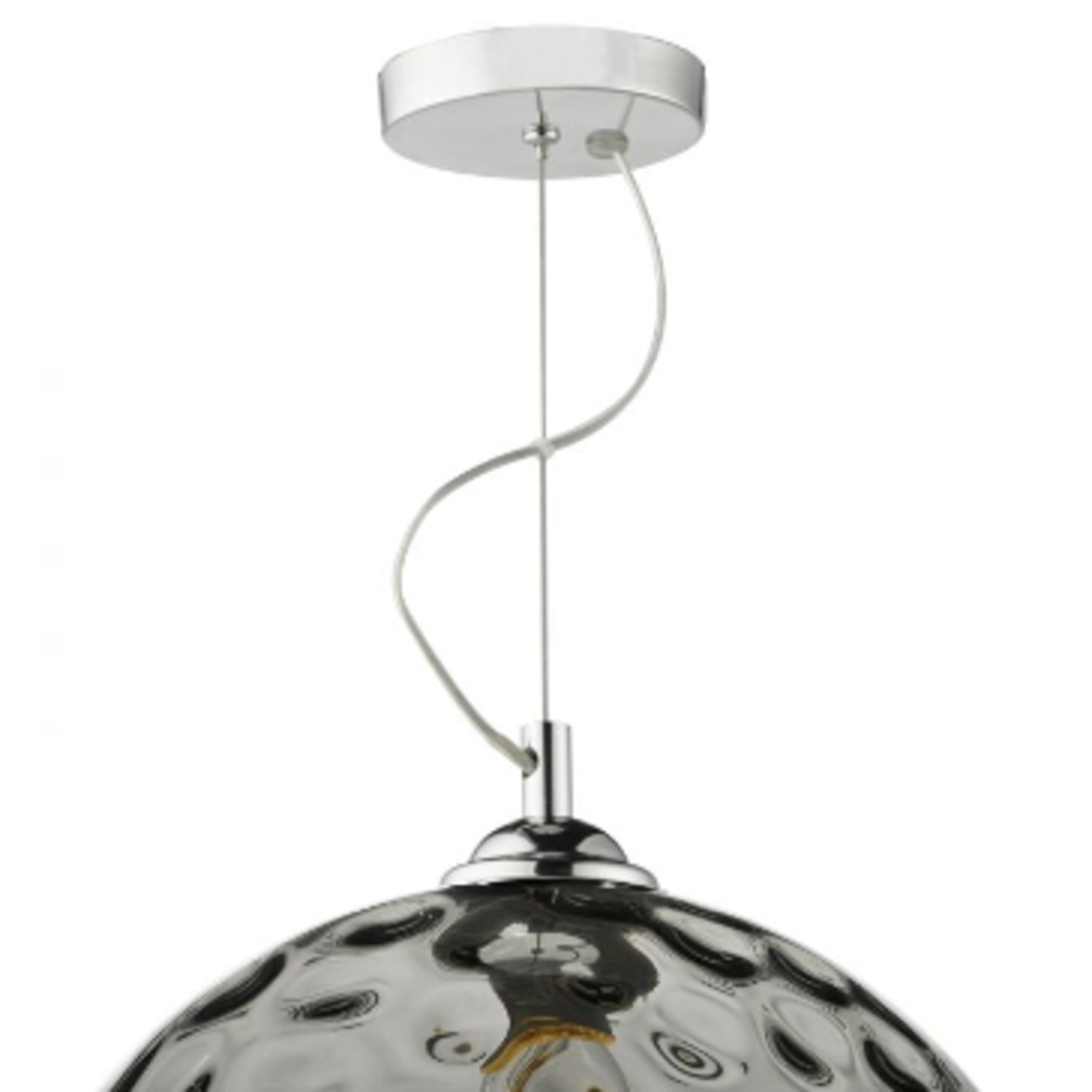 DAR Aulax Pendant Silver chrome & Smoked Glass With Dimple Effect Glass aprox 30x30cm
