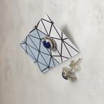 Silvex Images Lapis Midnight Blue Tibetan Round Stud Earrings small  70mm dia x  45mm proud - stone 50mm dia