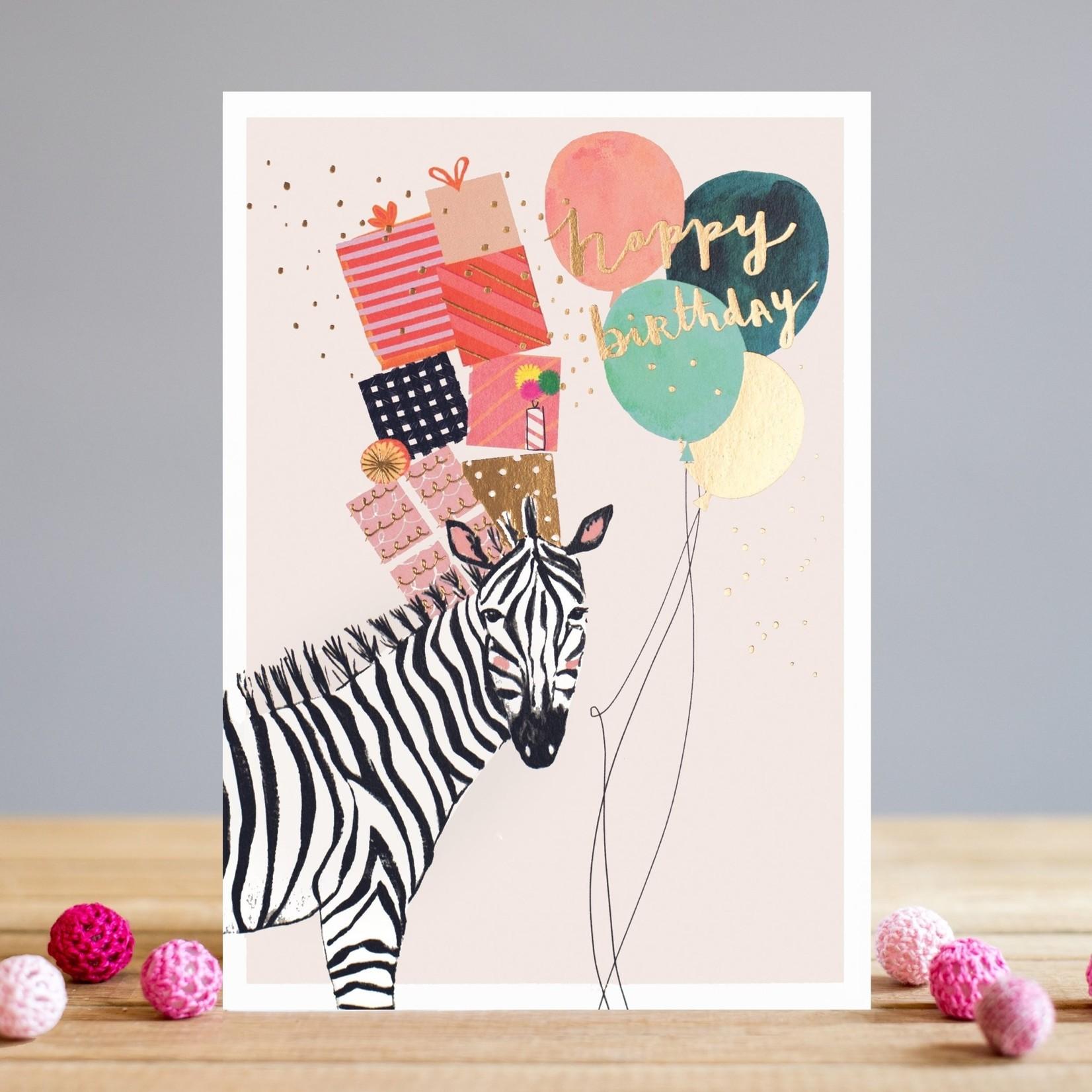 Louise Tiler Happy Birthday Zebra Card