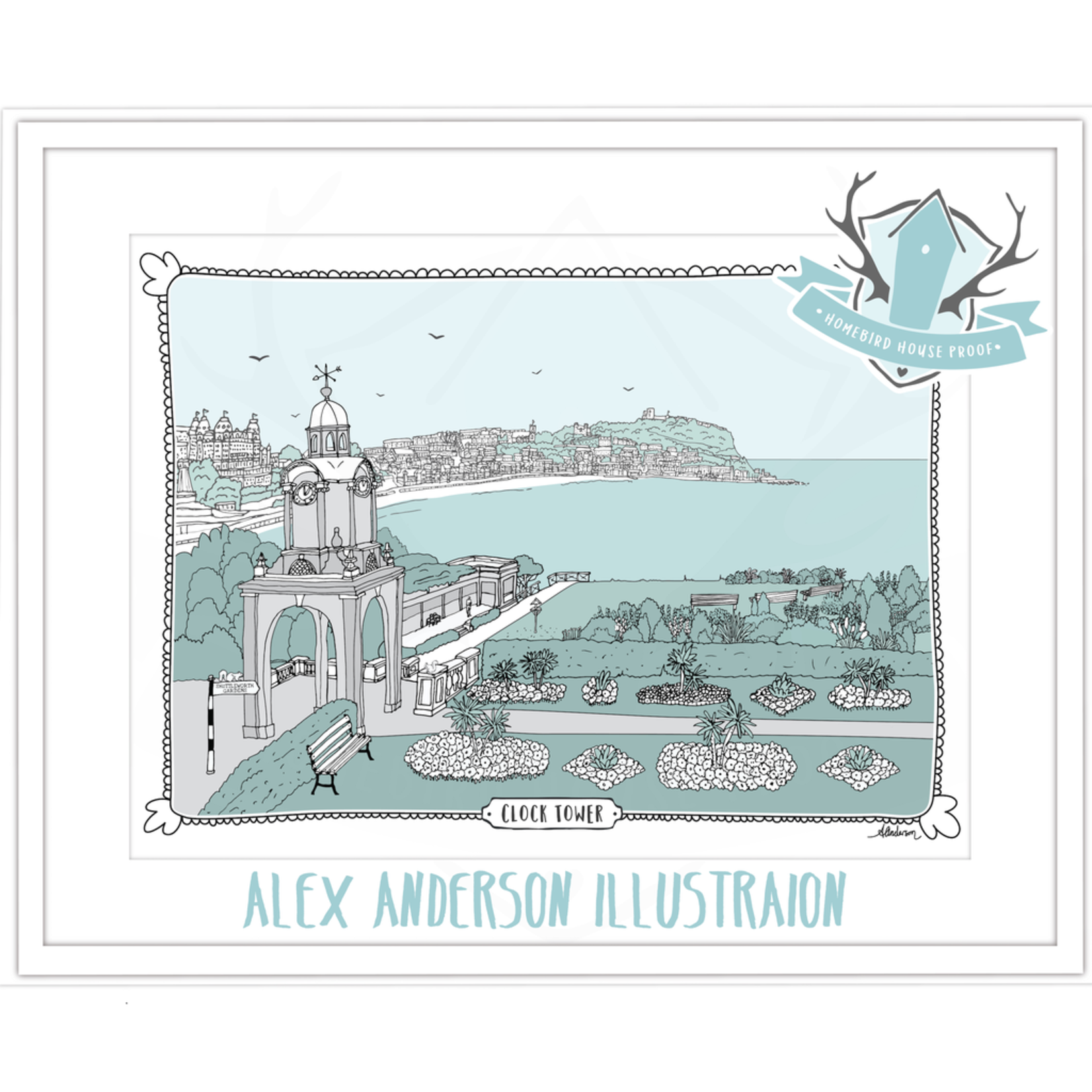 Homebird Pictures Alex Anderson Duck Egg CLOCK TOWER Illustration