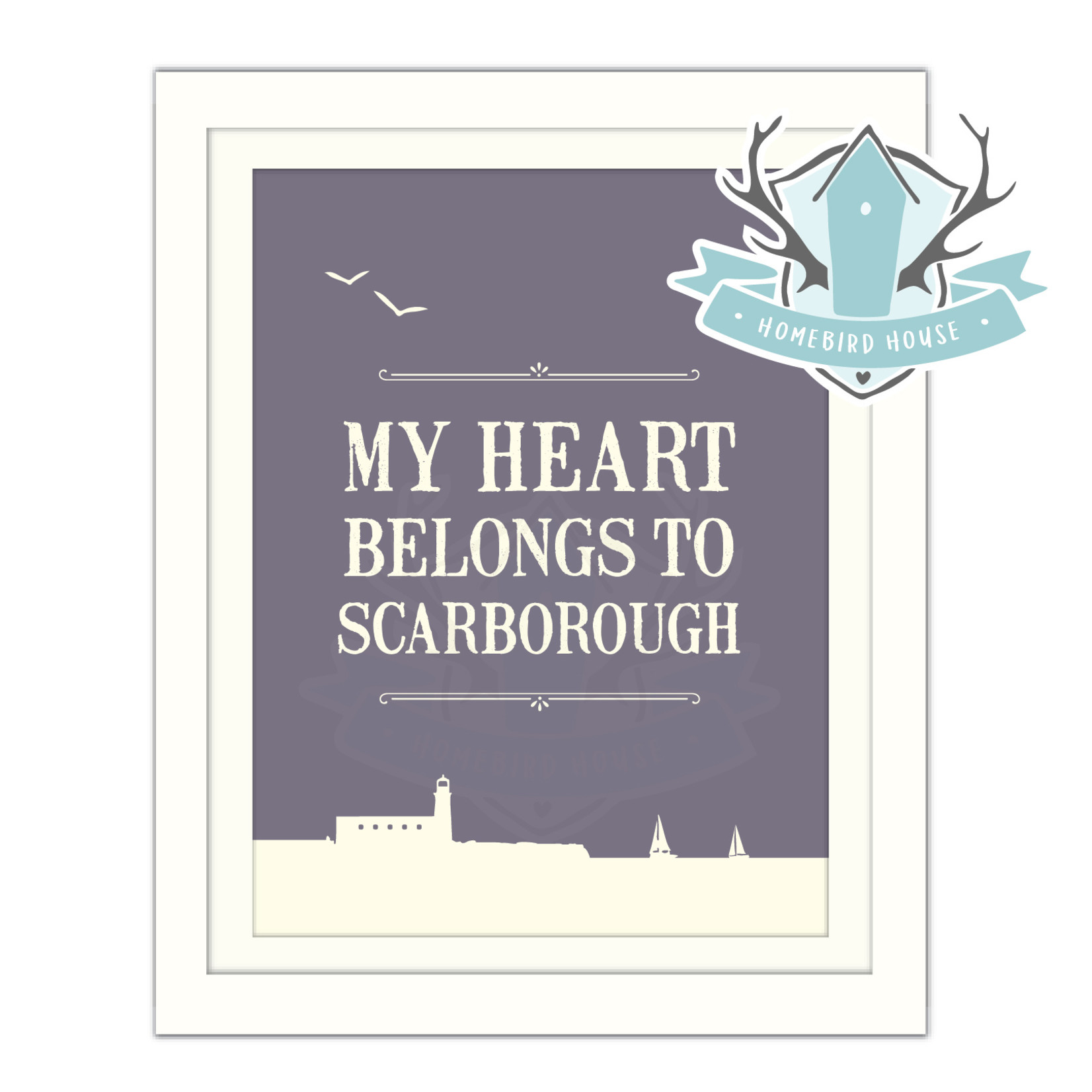 Homebird Pictures Homebird Extra Small TINY Print My Heart Belongs to Scarborough FRAMED