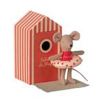Maileg . NEW IN! Maileg Beach mice, Little sister in Cabin de Plage In Red Beach Hut