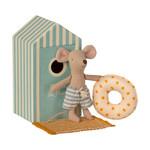 Maileg . NEW IN! Maileg Beach mice, Little brother in Cabin de Plage Blue Beach Hut
