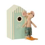 Maileg . NEW IN! Maileg Beach mice, Big brother in Cabin de Plage in Duck Egg Beach Hut