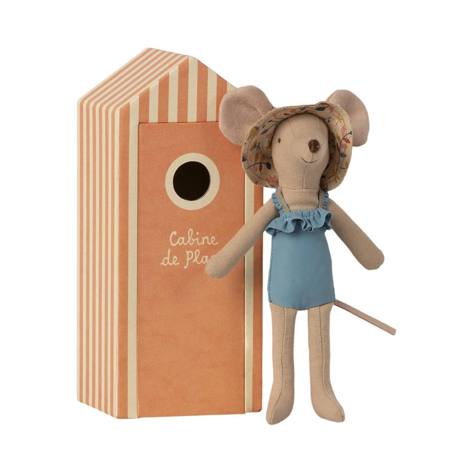 Maileg . NEW IN! Maileg Beach mice, Mum in Cabin de Plage in Peach Beach Hut