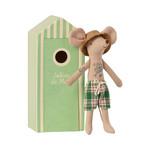 Maileg . NEW IN! Maileg Beach mice, Dad in Cabin de Plage in Green Beach Hut