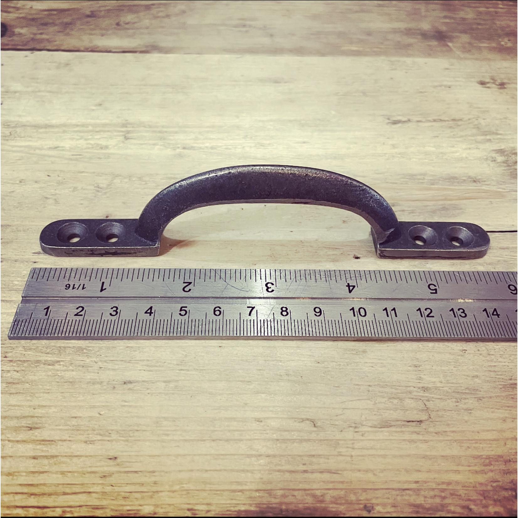 """IRON RANGE Antique Iron Waxed Rounded D Sash Handle 4 hole - 150mm / 6 """""""