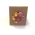 Zinc White ZW Plated Silver Flower Pencil Ring Pink Yellow