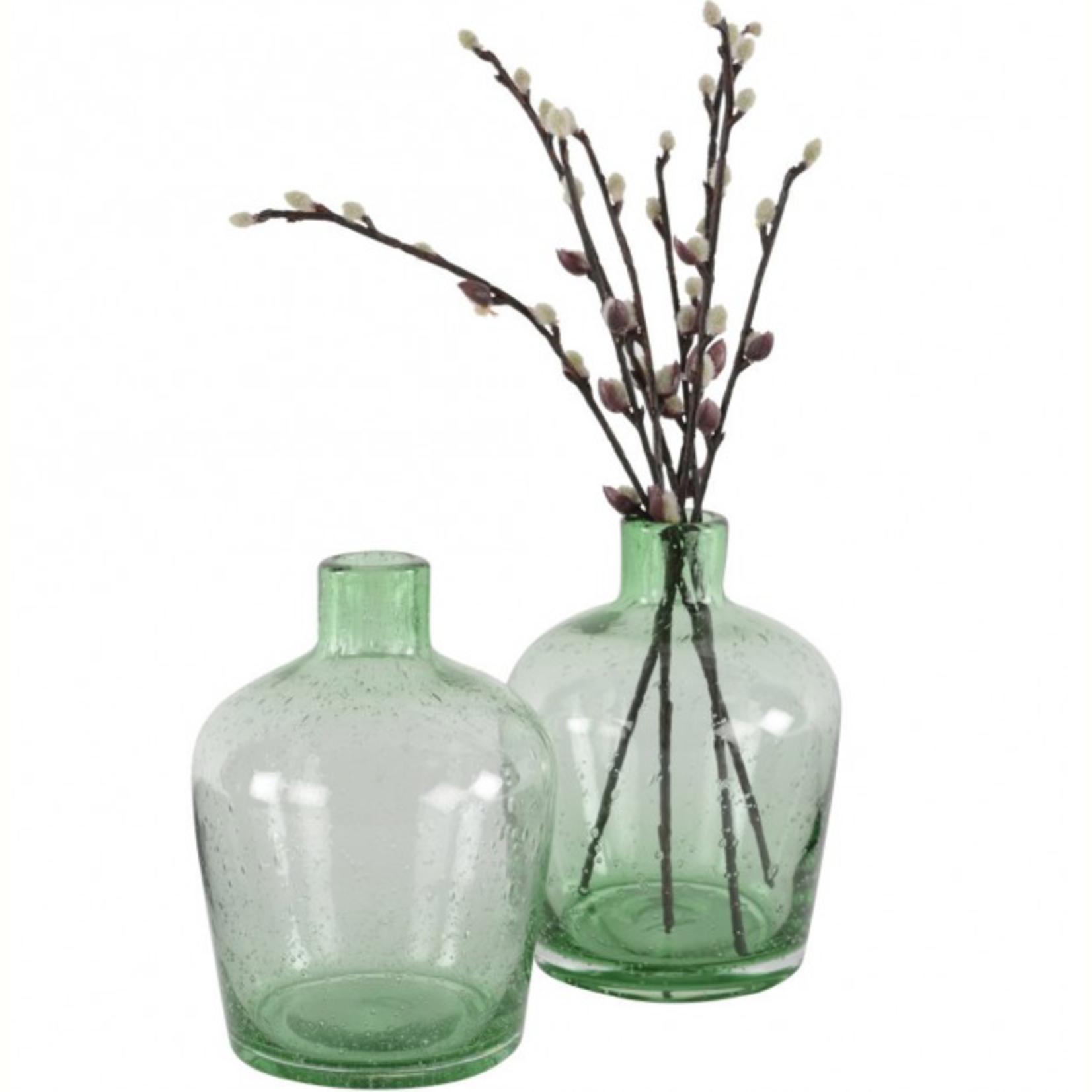 Grand Interiors Glass Bottle Vase Green 12x17cm