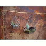 Nk MANDURI Glass HANGING PLANTER - ANTIQUE ZINC - SMALL 25.5 X 20CM (DIA)