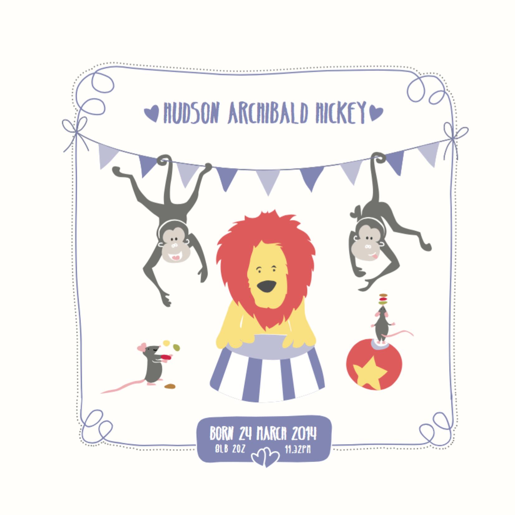 Homebird Bespoke Homebird Bespoke Personalised Square Circus Illustration
