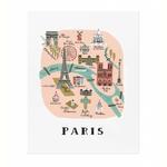 Rifle Rifle Paris Map Print 16x20 Inches