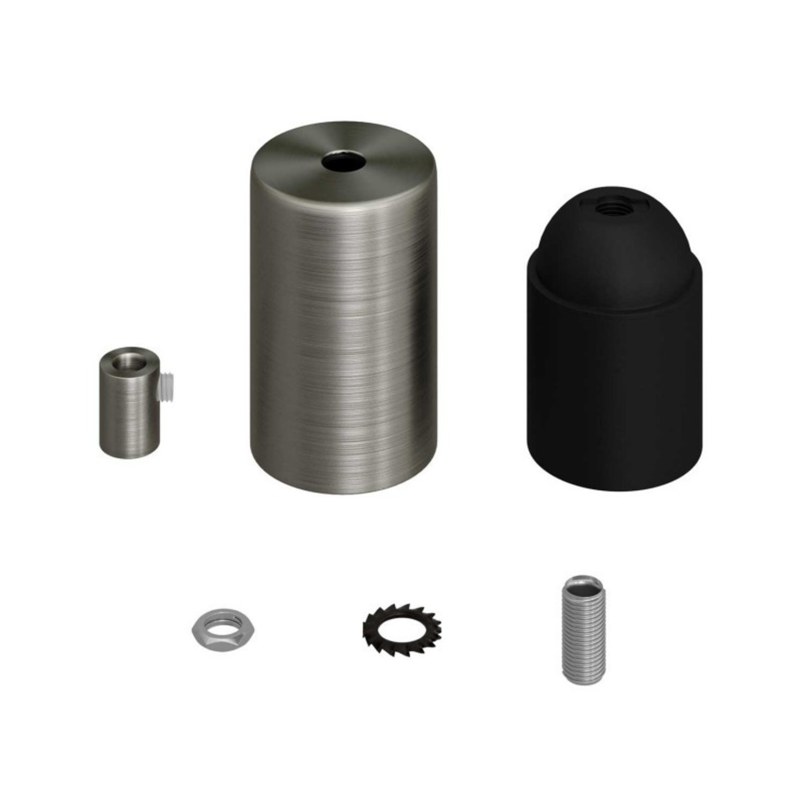 CCIT E27 Cylinder lampholder Kit with metal cap + cylindrical cable grip