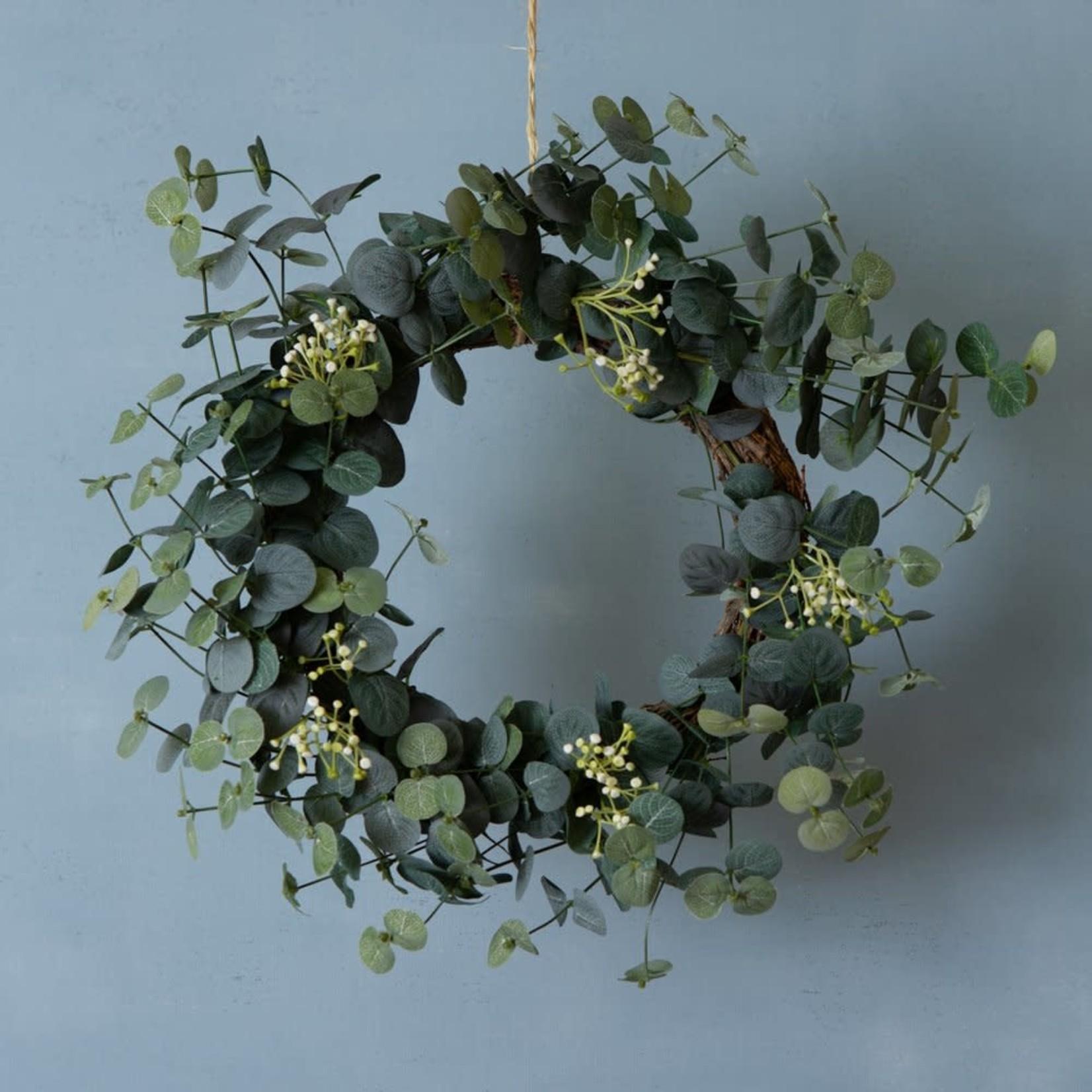 Grand Interiors Eucalyptus & White Flower Wreath