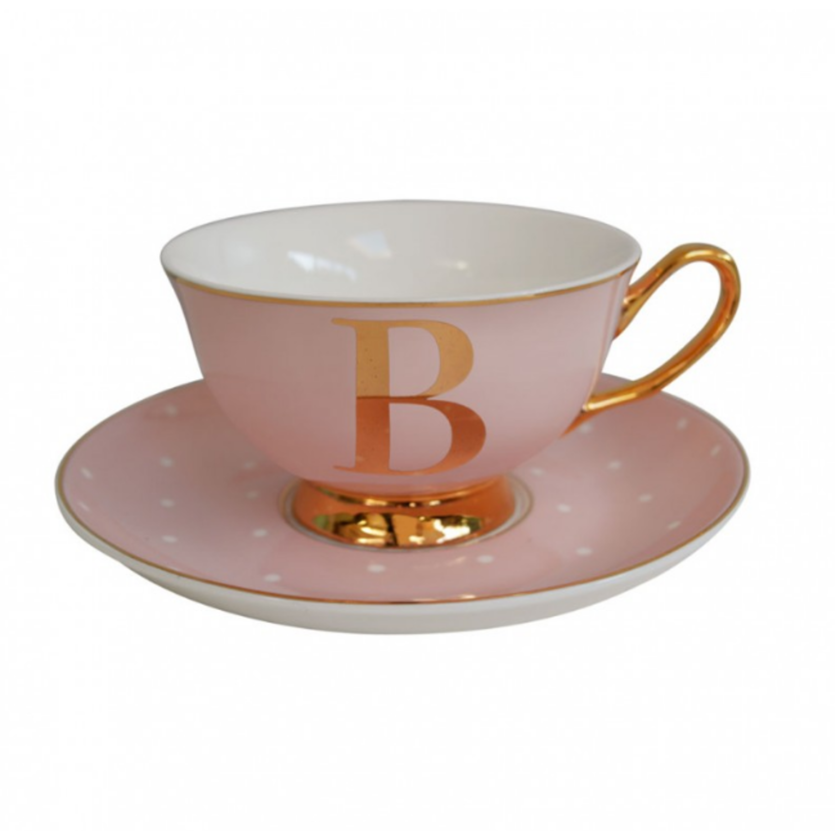 BoDuck Alphabet Spotty Teacup and Saucer Letter B Gold/Tea Rose Pink