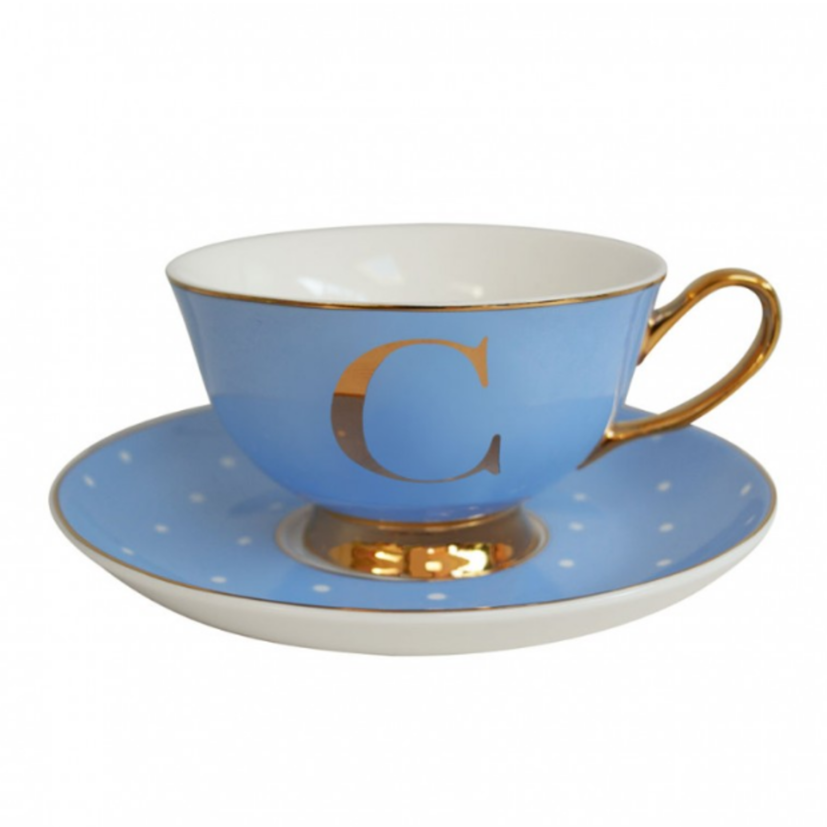 BoDuck Alphabet Spotty Teacup and Saucer Letter C Gold/Powder Blue