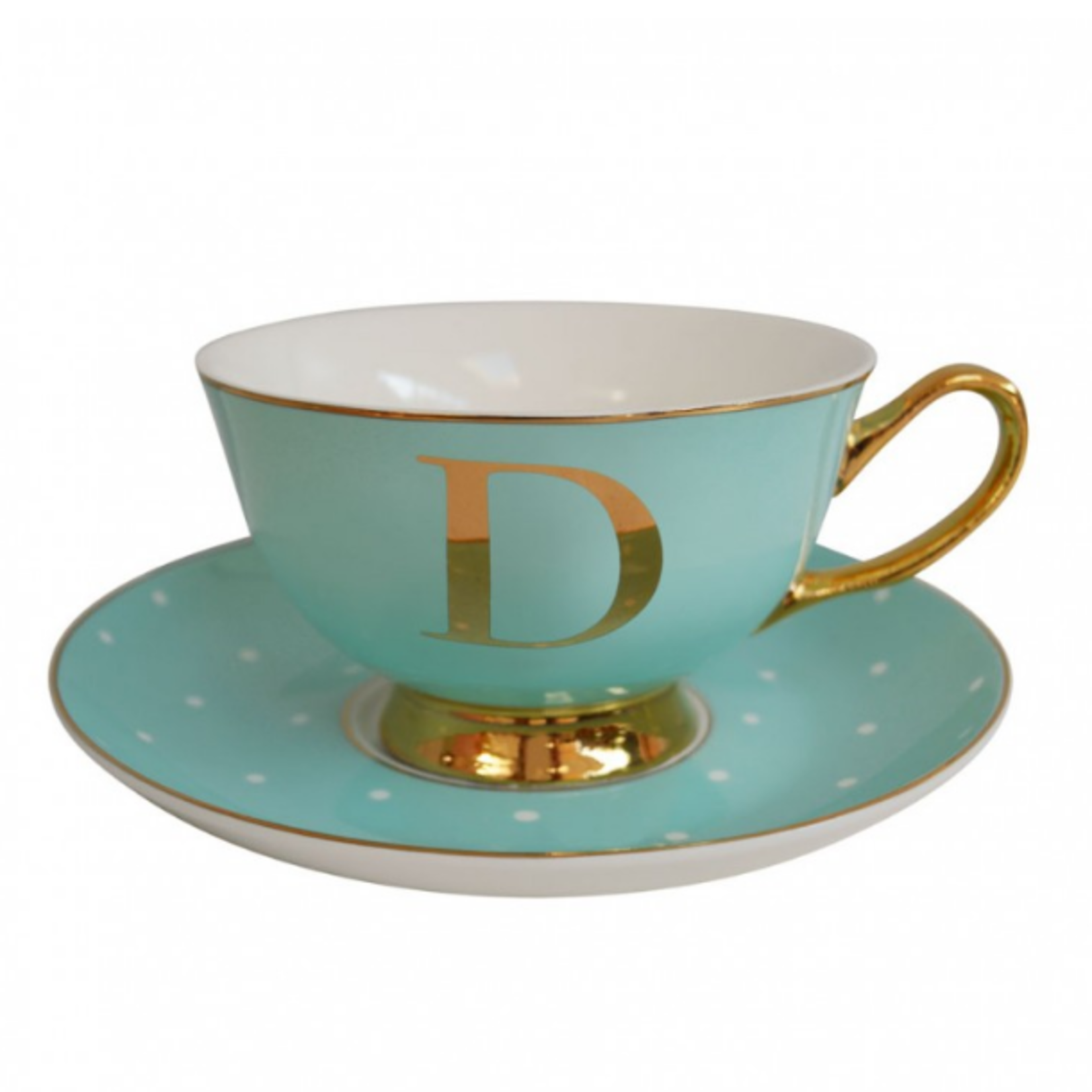 BoDuck Alphabet Spotty Teacup and Saucer Letter D Gold/Mint