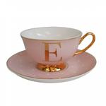 BoDuck Alphabet Spotty Teacup and Saucer Letter E Gold/Tea Rose Pink