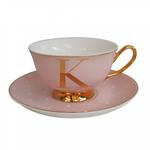BoDuck Alphabet Spotty Teacup and Saucer Letter K Gold/Tea Rose Pink