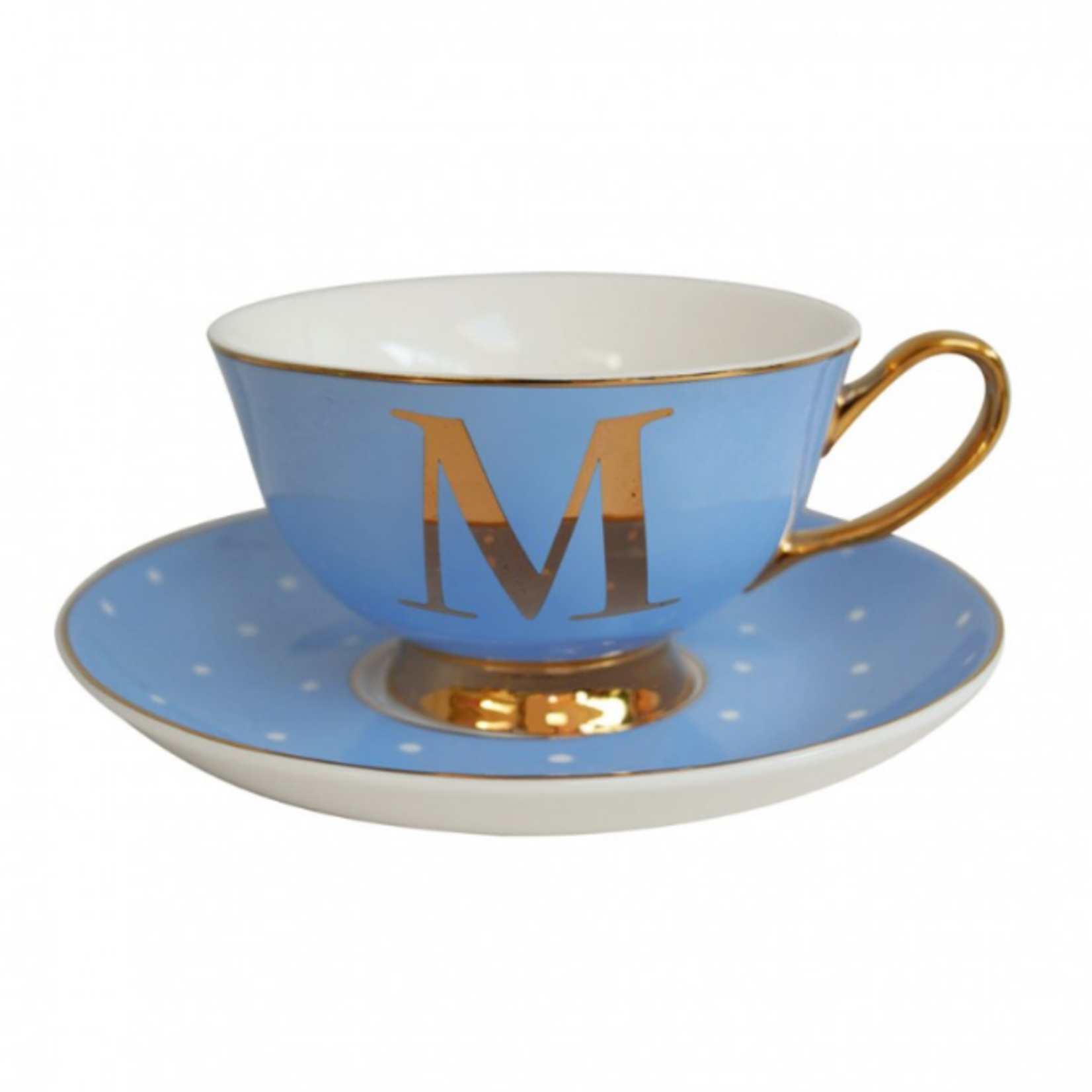 BoDuck Alphabet Spotty Teacup and Saucer Letter M Gold/Powder Blue